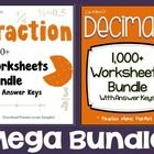 Fractions and Decimals Mega Bundle!  This is a bundle of my Fractions and Decimals products.  These worksheets are great for homework and classroom...