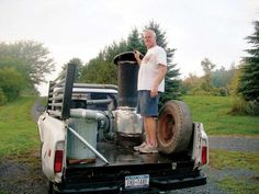 If you have an older-model truck, a ready supply of firewood and a little ingenuity, you can build a wood gas generator to run your truck. From MOTHER EARTH NEWS magazine. Camping Survival, Survival Prepping, Wood Gasifier, Earth Wind & Fire, Gas Generator, Mother Earth News, Military Gear, Alternative Energy, Transportation