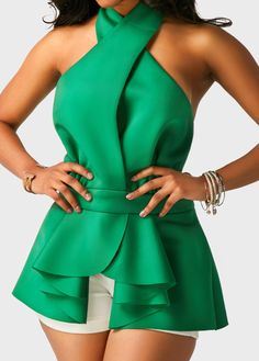 Green Halter Neck Asymmetric Hem Flouncing Blouse on sale only US$32.06 now, buy cheap Green Halter Neck Asymmetric Hem Flouncing Blouse at liligal.com