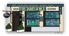 James Joyce, Guinness, Facade, Madrid, Watercolor, Store, Illustration, Gourmet, Drawings