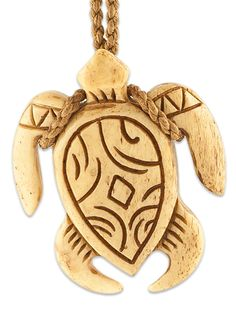 Antiqued Bone Hawaiian Sea Turtle Necklace