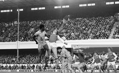 Jan 31st 1981:Players leap for the ball during a match between #Arsenal and Coventry City at Highbury, north London, (left to right) Gary Thompson (Coventy), Steve Walford (Arsenal), Gary Gillespie (Coventry), and Coventry goalkeeper Les Sealey (1957 - 2001).