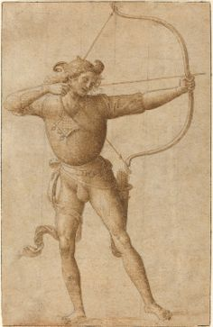 Follower of Pietro Perugino  Italian 16th Century (artist)  Pietro Perugino (related artist)  Italian, c. 1450 - 1523  Archer Drawing a Bow, c. 1505