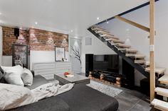 Myydään Puutalo-osake Kaksio - Turku Martti Kupittaankatu 89 - Etuovi.com 9987505 Home Cinemas, Brick Wall, Osaka, Stairs, Loft, Bed, Furniture, Movie Rooms, Home Decor