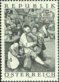 """Bagpipe from Austria -This is an engraving of a part of Breugel's famous painting, """"Peasants Dancing."""" The bagpipe is a basic type once found throughout the low countries, through Germany and into Austria and Switzerland."""