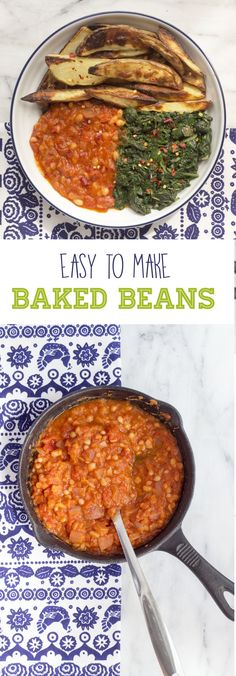 Simple and easy to make homemade baked beans. Vegan recipe.