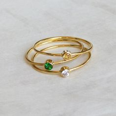 Delicate Gold Rings - Sapphire Emerald Zircon - Stacking Rings - Set of Three Rings - 14k Solid Gold