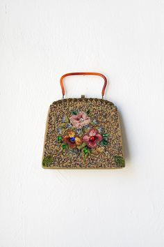 vintage 1950s beaded floral frame purse