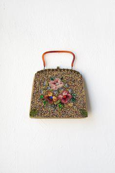 vintage 1950s beaded floral frame purse