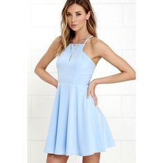 Call to Charms Light Blue Skater Dress ($54) ❤ liked on Polyvore featuring dresses, blue, skater skirt, racerback dress, skater dresses, blue skater dress and sweetheart dress
