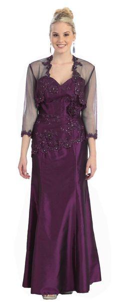 Long Plus Size Taffeta Mother of the Bride Formal Dress Jacket