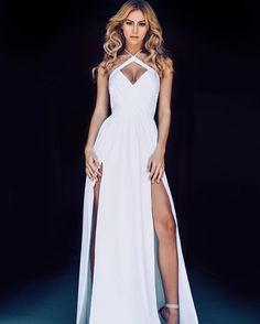 White Spaghetti Dress,Halter Split Prom Dress,Custom Made Evening