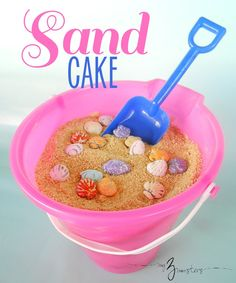 Delicious vanilla pudding cake that looks like a bucket of sand!  Fun idea for a summer birthday! Sand Cake, Sand Bucket Cake, Grilled Peaches, Vanilla Pudding Cake, Dirt Cake, Pirate Theme, Beach Party, Birthday Ideas, Summer Birthday