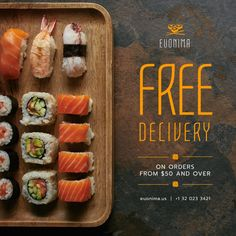 Restaurant Advertising, Restaurant Delivery, Instagram Advertising, Fresh Sushi, Edit Online, Free Instagram, Brand Identity Design, Make It Simple, Graphics