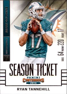 2014 Panini Contenders #40 Ryan Tannehill Miami Dolphins NFL Football Card #MiamiDolphins