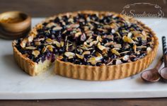 Blueberry frangipane tart Frangipane tart is a sweet french tart made from ground almonds nested in short crust pasty and topped with a variety of fruits such as apples, pears and peaches.  My frangipane tart is made with blueberries and sliced almonds with a base cover with apricot jam that adds to it's wonderful taste, makes it so delicious and so good to have with a cup of tea.