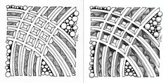 Dex tangle week from Square One Zentangle fb group, before and after shading, includes shattuck and tipple