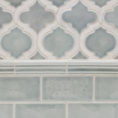 Nabi Arabesque Arctic Blue Marble And Ceramic Tile Backsplash Arabesque, Arabesque Tile, Blue Backsplash, Herringbone Backsplash, Backsplash Ideas, Tile Ideas, Stove Backsplash, Travertine Backsplash, Beadboard Backsplash