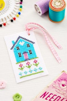 Add a vintage touch to your sewing with a darling cottage pincushion [Crafts Beautiful, September ~ Pic 2 of 2 Cross Stitch House, Cross Stitch For Kids, Mini Cross Stitch, Simple Cross Stitch, Cross Stitch Bookmarks, Cross Stitch Cards, Cross Stitching, Cross Stitch Embroidery, Modern Cross Stitch Patterns