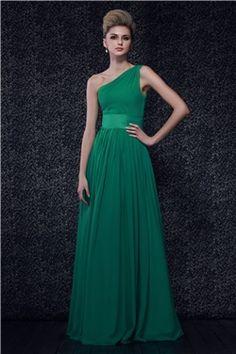 Pleats A Line One Shoulder Floor Length Dashas Bridesmaid Dress