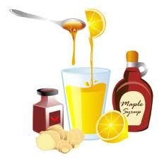 The master Cleanse Recipe:    This is the classic single serve recipe provided in Stanley Burrough's book:    2 Tablespoons of lemon or lime juice    2 Tablespoons of genuine organic maple syrup    Dash cayenne pepper    10 ounces water