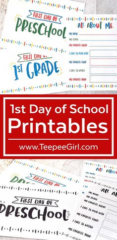 "These free printables are perfect for the first day of school! Let the kids hold the first day of school signs so you can take pictures & remember exactly what they looked like on their first day of the school year. Plus, there's an ""All About Me"" printable so they can record all their favorite things and what they loved on the first day of school. Get it today at www.TeepeeGIrl.com!"
