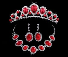 Bridal Jewelry Sets Necklace Earrings And Bracelet: Three Piece Red Ruby Jewelry Set