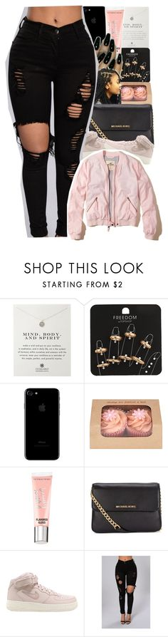 """""""bomber contest"""" by danny-baby ❤ liked on Polyvore featuring Dogeared, Topshop, Victoria's Secret, Michael Kors, NIKE and Hollister Co."""