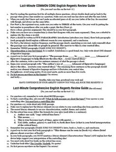 Last-Minute Study Guide for the NYS English Regents: Common Core and Comprehensive Exams