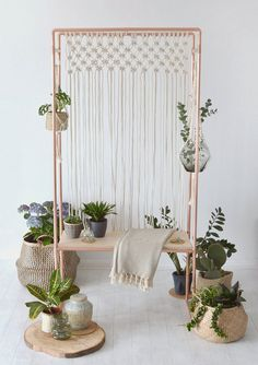 Copper and Birch Plywood Plant Stand / Indoor Garden / Plant Display Bench