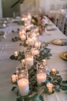 20 Romantic Wedding Centerpieces With Candles- vintage candle and greenery wed. 20 Romantic Wedding Centerpieces With Candles- vintage candle and greenery wedding centerpiece Floral Wedding, Wedding Colors, Romantic Wedding Centerpieces, Wedding Reception Table Decorations, Table Decorations For Wedding, Rehearsal Dinner Decorations, Head Table Decor, Diy Table, Simple Wedding Reception