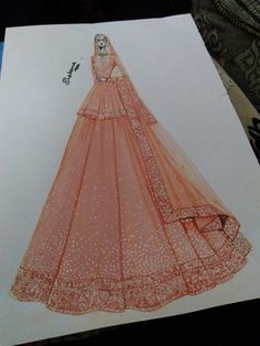 Perfect and fabulous for bridal Fashion Drawing Dresses, Fashion Illustration Dresses, Dress Illustration, Fashion Illustrations, Fashion Design Sketchbook, Fashion Design Drawings, Fashion Sketches, Look Fashion, Indian Fashion