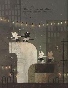 Caroline Stutson . & . Jon Klassen . Cats' Night Out . { gorgeous illustrations in this children's book } .