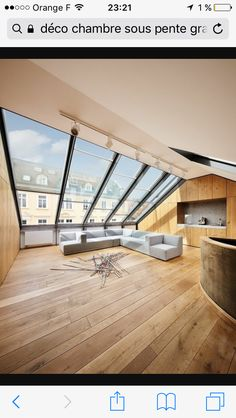 cocooning lounge with light wood floor and large windows on the roof . pretty cocooning lounge with light wood floor and large windows on the roof . Attic Rooms, Attic Spaces, Roof Design, House Design, Mansard Roof, Balkon Design, Roof Extension, Loft Room, Attic Conversion