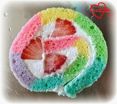 Rainbow Swiss Roll with Strawberries and Cream