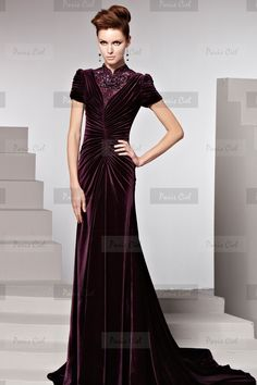 Elegant High neck Long Burgundy Evening Dress | Paris Ciel