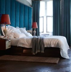 Caslano Linen bed linen collection with velvet bedstead, cashmere throw - SOHO house Berlin.