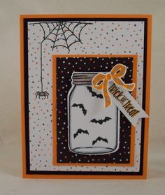 halloween cards Its time to starting working on Holiday ideas! Fall, Halloween, Winter and Christmas are quickly approaching and Stampin Up is ready to help you get started working on your cards, scr Cricut Halloween Cards, Halloween Paper Crafts, Cricut Cards, Halloween Projects, Handmade Halloween Cards, Happy Halloween, Halloween Tags, Fall Halloween, Halloween 2019