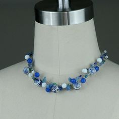 Crochet Wire Necklace chunky statement ceramic chinese on Etsy, $22.95