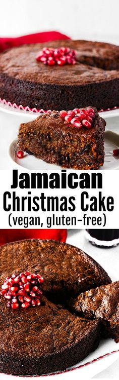 Jamaican Christmas Cake (Vegan, Gluten-Free) #vegan #gluten-free #jamaicanblackcake #jamaicanrecipes #christmascake #blackcake #caribbeanrecipes