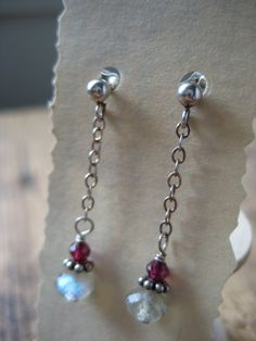 SALE Labradorite and Garnet Sterling Silver by hoitytoitydesigns, $8.50
