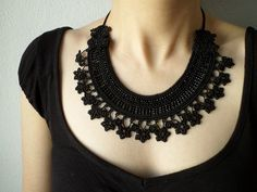 https://flic.kr/p/GyTFv9   Beaded black necklace with crochet flowers and glass…