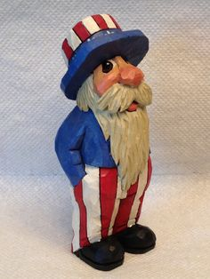Hand Carved Handmade Patriotic Santa Wood Carving by RWKWoodcarving, SOLD