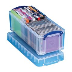 "officedepot.com: Really Useful Boxes® Plastic Storage Box, 6.5 Liters, 6 1/4""H x 7""W x 17 1/2""D, Clear (Item # 452306 OfficeMax # 25038076)  $10.69"