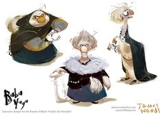 "James Woods - Character Designs for the Russian folktale ""Vasilisa the Beautiful."" https://www.facebook.com/CharacterDesignReferences"