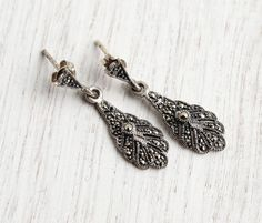 Vintage Sterling Silver Marcasite Earrings - Retro Dangle Pierced Elegant Sterling Jewelry Signed Han / Sparkly Drops by Maejean Vintage on Etsy, $26.00