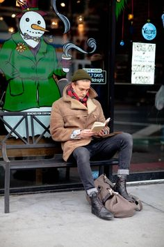 Street style - Sheepskin coat, red tartan scarf, beanie, jeans & lace-up black boots