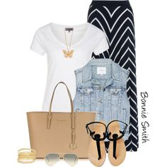 """""""Striped maxi skirt"""" by bonnaroosky on Polyvore"""
