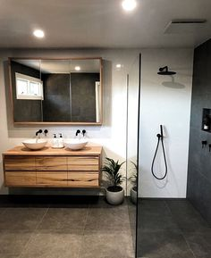 Natural bathroom with blackbutt style timber vanity, black fittings and a warm grey pallet. Natural Bathroom, Wood Bathroom, Grey Bathrooms, Bathroom Colors, White Bathroom, Bathroom Ideas, Bathroom Organization, Bathroom Storage, Mirror Bathroom