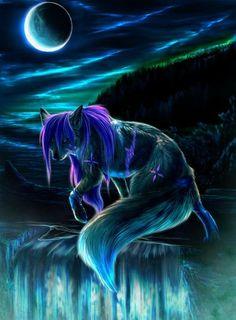 Фото Лиса на фоне ночного неба и гор, работа Night witch / ночная ведьма, автор ScreamingWolfy